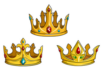 Royal golden crowns with jewelry