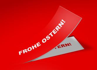 3D Etikett Rot - Frohe Ostern!