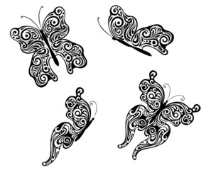Abstract flying butterflies
