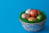 Easter eggs in a basket on a blue background