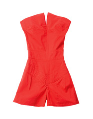 Red short strapless jumpsuit
