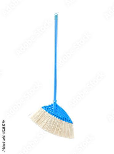 blue color broom for cleaning floor isolated