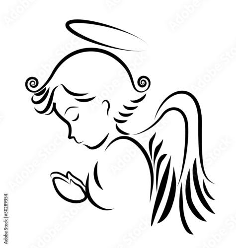 Naklejka Angel praying logo vector