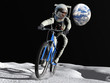 The astronaut on a bicycle