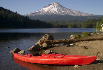 Single Red Kayak on Shore Trillium Lake Mount Hood Oregon
