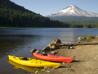 Red Yellow Kayaks on Shore Trillium Lake Mount Hood Oregon