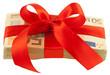 liasse billets cadeau, ruban rouge