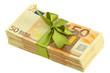 liasse billets cadeau, ruban vert