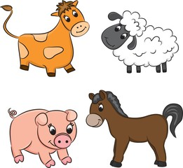 Vector set of cartoon animals.