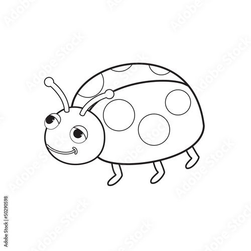 Outlined bug toy vector illustration. Isolated on white.