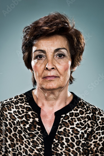 Mature Woman with Serious Expression