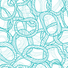 Abstract geometrical doodle pattern with circle and wave, seamle