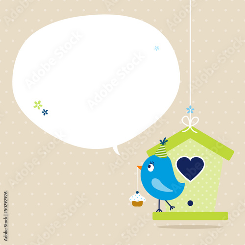 Blue Bird Cupcake Birdhouse Speech Bubble Beige Dots