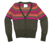 Green knit sweater with a color pattern