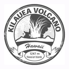 Grunge stamp with words Kilauea Volcano, Hawaii, vector