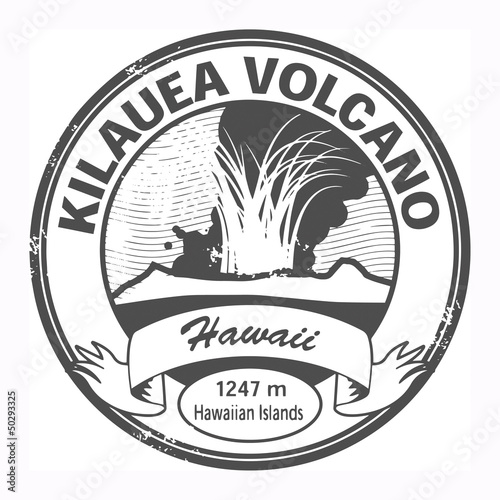 Grunge stamp with words Kilauea Volcano, Hawaii, vector