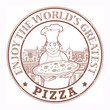 Stamp with Chef with pizza inside, vector