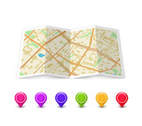 Fototapety Map icon with Pin Pointers