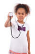 Young african asian girl holding a stethoscope