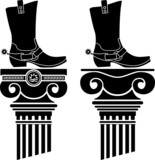 columns and boots with spurs. stencils