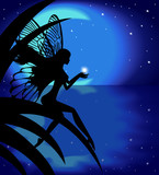 Fairy girl holding a star on a background with the moon