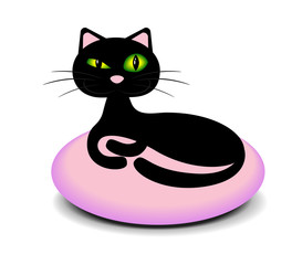 Elegant black cat lying on a pink pillow and screws up his eyes