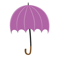Pink umbrella isolated on white background