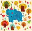 Vector cartoon pattern with elephant