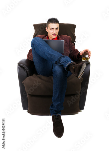 Man with pad and whiskey