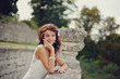 gorgeous bride outdoors posing
