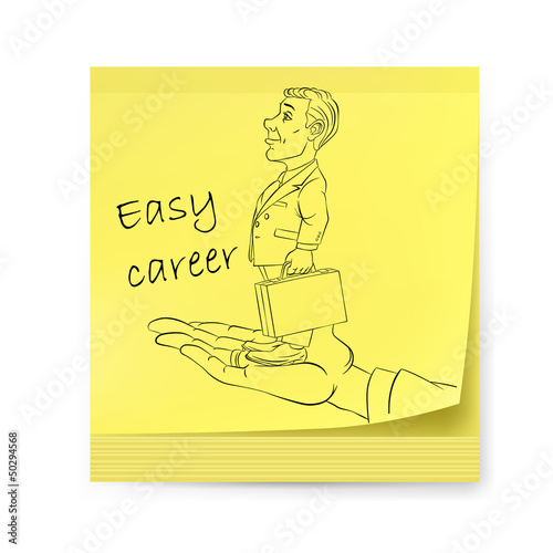 Yellow sticker with businessman