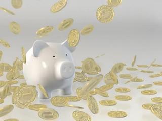 Piggy bank - falling coins (Film)