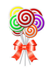Lollipops with red ribbon