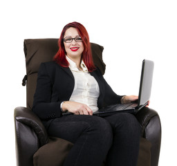 Cheerful redhead business woman and glasses