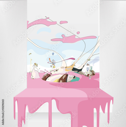 Funny world on a white shelves. Vector Background.