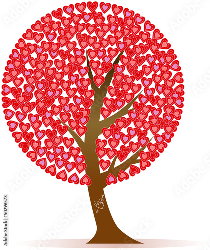 Tree with hearts, love symbol, vector illustration