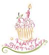 Geburtstag, Muffin, Kuchen, birthday, vector
