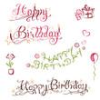 Geburtstag, Schrift, Logo, happy birthday, set