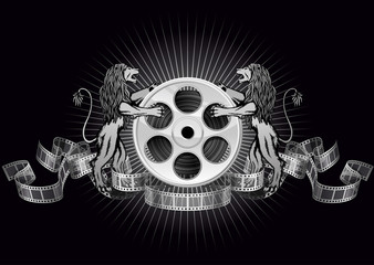 Film reel with lions
