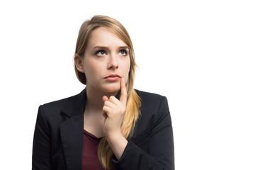 Junge Geschäftsfrau ist sich unsicher