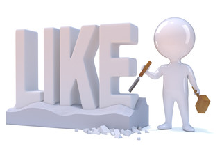 "Little man carves the word ""LIKE"" in stone"