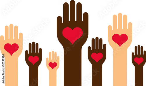 Hands with a heart in the middle of the palm