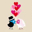 Wedding Couple Birds Heartballoons Beige