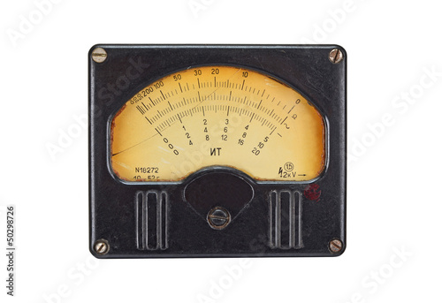 Vintage antique voltmeter, isolated on white background