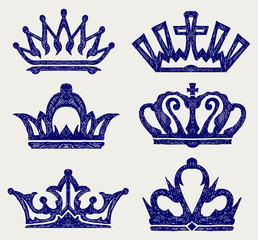 Crown collection. Doodle style