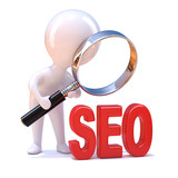 "Little man views the acronym ""SEO"""