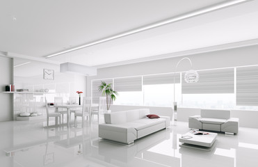 Interior of modern white apartment 3d