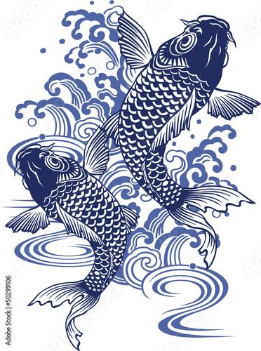 日本画調の鯉