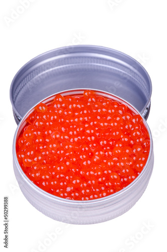 Metal can with caviar