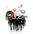 Business people with gears background